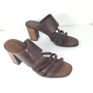 Italian Shoemakers Strappy Heels Brown Size 8